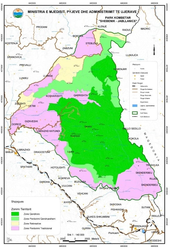 Map of Shebenik-Jabllanicë National Park