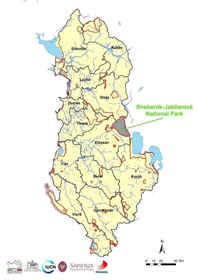 Map of Albania with Shebenik-Jabllanicë National Park