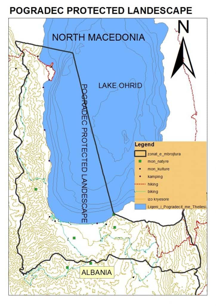 Map of the Protected Landscape Pogradec - Lake Ohrid