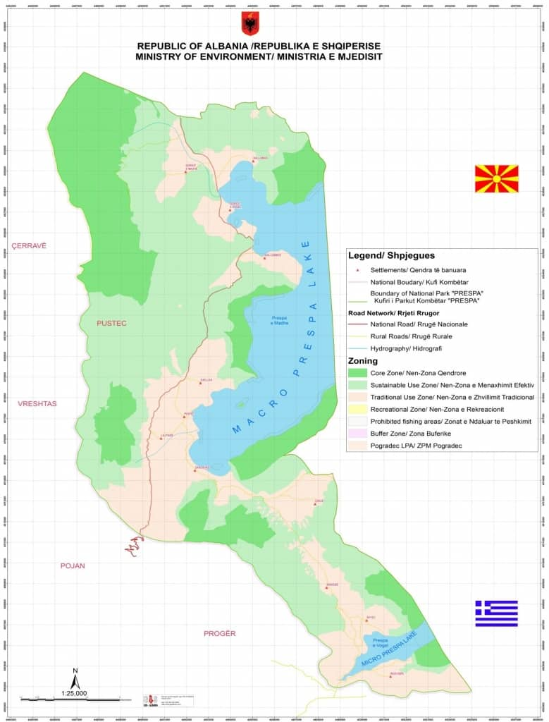 Map of Prespa National Park